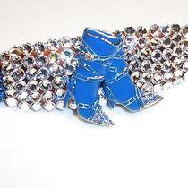Swarovski Crystals & Blue Boots Jewelry Barrette Handmade & Stunning Photo