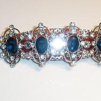 Swarovski Crystals & Blue Fancy Jewelry Barrette Handmade & Gorgeous Photo