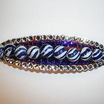 Swarovski Crystals & Blue/white Glass Beads Barrette Handmade & Fun Photo