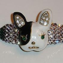 Swarovski Crystals & Boston Terrier Jewelry Barrette Black/clear Fun Photo