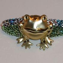 Swarovski Crystals & Bullfrog Jewelry Barrette Green/clear Fun Photo