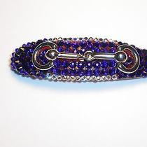 Swarovski Crystals Cobalt Blue & Horse Bit Jewelry Barrette Handmade  Photo
