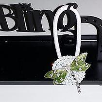 Swarovski Crystals & Dragonfly Jewelry Ponytail Holder Opal Photo