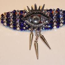 Swarovski Crystals & Eye W/dangles Jewelry Barrette Blue/clear Cute Photo