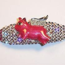 Swarovski Crystals & Flying Pig Jewelry Barrette Pink/clear Oink Photo