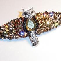 Swarovski Crystals & Fox Jewelry Topaz Colored Barrette Handmade Photo