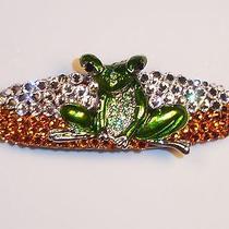 Swarovski Crystals & Frog Jewelry Clear/topaz Barrette Handmade & Fun Photo