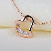 Swarovski Crystals Love Heart Statement Pendant 18k Rose Gold Gf Necklace 1037 Photo