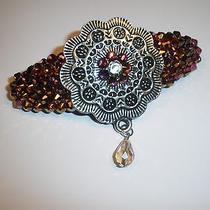 Swarovski Crystals & Metal Round Jewelry Purples Barrette Handmade & Pretty Photo