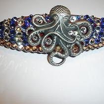 Swarovski Crystals & Octopus Jewelry Blue/clear/topaz Barrette Handmade & Cool Photo