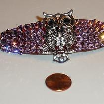 Swarovski Crystals & Owl on Limb Jewelry Lavender Color Barrette Handmade & Glam Photo