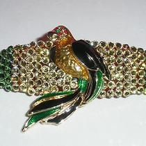 Swarovski Crystals & Parrot Jewelry Barrette Green/black/yellow Polly Photo