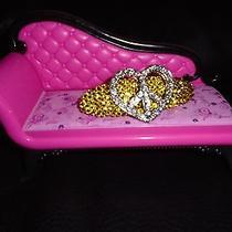 Swarovski Crystals & Peace Heart Jewelry Barrette Yellow Groovy Cool Photo
