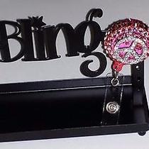 Swarovski Crystals & Peace Sign Jewelry badge/i.d. Holder Pink Photo