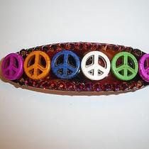 Swarovski Crystals & Peace Sign Jewelry Beads Changing Colors Barrette Handmade Photo