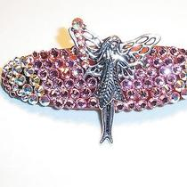Swarovski Crystals Pink & Fairy Jewelry Barrette Handmade & Magical Photo
