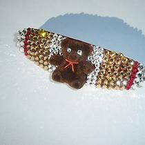 Swarovski Crystals & Teddy Bear Topaz/red/clear Barrette Handmade & Cute Photo