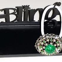 Swarovski Crystals &  Vintage Green Gem Jewelry Ponytail Holder Clear Photo