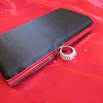 Swarovski Element Sk-Ii - Clutch Black Satin/silk Material Ring Clasp  Photo