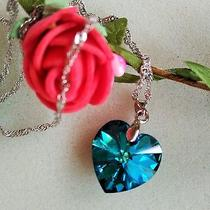 Swarovski Elements Blue Crystal Heart 925 Silver Necklace for Party Girl Photo