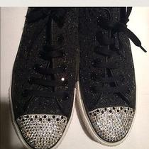 Swarovski Elements Clear Crystals on Black Sequin Converse Sneaker  Women's 10 Photo