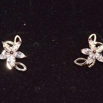 Swarovski Elements Fashion Jewelry Flower Gold-Tone Earrings Photo