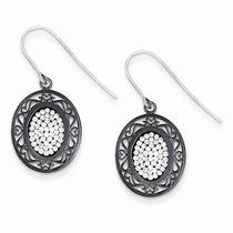Swarovski Elements Oval Earrings - Black Ceramic - Sterling Silver - 1.5gr Photo