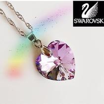 Swarovski Elements Purple Crystal Heart 925 Silver Necklace for Party Girl Photo