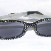 Swarovski Hematite White Opal Crystal Reading Sunglasses Sun Readers 2.50 New Photo