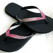 Swarovski Ombre Crystal Flip Flops Havaianas or Cariris Pink Sunrise Sunset Shoe Photo