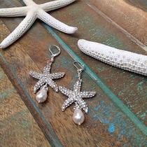 Swarovski Pearl Starfish Bridal Earrings Bridal Jewelry Beach Jewelry Photo