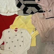 Sweater Cardigan Set Lot of 8 Xs Black Gray Sequin Ivory Blush Pink Red Yellow Photo
