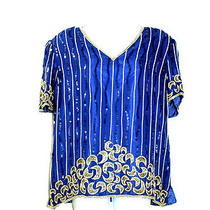 Sweelo Short Sleeves Embellished Party Formal Evening Blue Silk Blouse Xl Photo