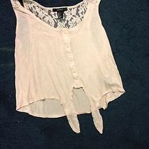 Sweet Forever 21 Blush Crop Tie Shirt S Photo