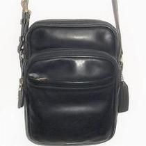 Sweet Mens Vintage Black Leather Coach Heritage Camera/flight Bag Rare Photo