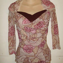 Sweet Pea 3/4 Sleeve Pink Floral Stained Glass Semi Sheer  Blouse Size Small Photo