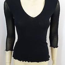 Sweet Pea Anthropologie Black 3/4 Sleeve Stretchy Woman Top Blouse Size S Photo