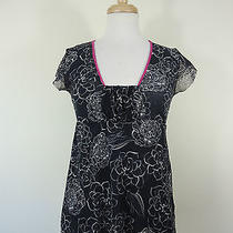 Sweet Pea Anthropologie Gray Stretchy Floral See-Through Cap Sleeve Top Size S Photo