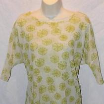 Sweet Pea Anthropologie Women's Shirt Mesh Ivory Green Medium Free Ship Photo