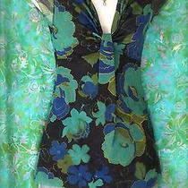 Sweet Pea by Stacy Frati Anthropologie Navy Floral Short Sleeve S Top Sexy Chic Photo