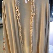 Sweet Pea by Stacy Frati Beigetan Ruffle Sz Large Long Sleeve Knit Top Sweater  Photo