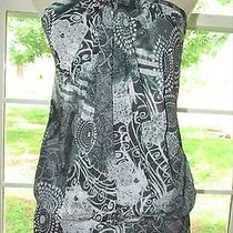 Sweet Pea Easton Jet Halter Tunic Top Black White Size M Nwt Photo