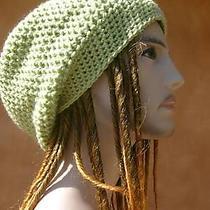 Sweet Pea Light Green Beanie Tam Hat Slouchy Crochet Skaters Unisex Hippie L Photo