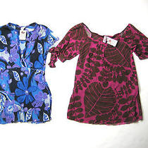 Sweet Pea Lot of 2 Blue & Pink Floral Print Short Sleeve Blouse Tops Size Small Photo