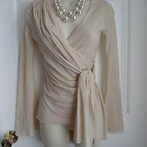 Sweet Pea M Top Off White Draped Shoulder Poem Fluted Long Sleeves Ties on Side Photo