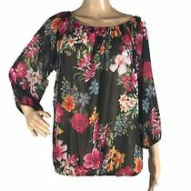 Sweet Pea Nyc Large Top Blouse Black Bright Floral Semi Sheer Stretch Elastic   Photo