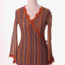 Sweet Pea Orange Multi-Color Striped Shirt Top  S 4/6 Photo