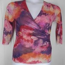 Sweet Pea Purple Pink Floral Tie Dye 3/4 Sleeve Mesh Nylon Top Shirt Size L Photo