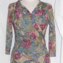 Sweet Pea Semi-Sheer Knit Stained Glass Roses Flower Shirt Top 3/4 Sleeve M S Photo