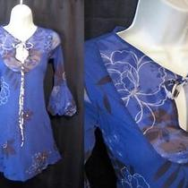Sweet Pea Stacy Frati Blue Knit Dress Puffed Fluted Sleeves Key Hole Tie S Photo